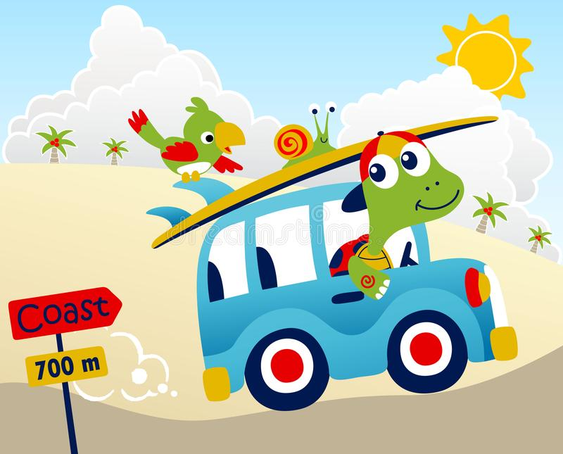 驾驶汽车的乌龟动画片在暑假 皇族释放例证