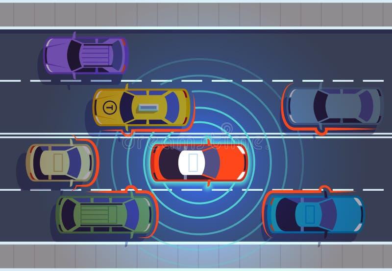 驾驶汽车的自已 汽车自主神经系统汽车未来派技术遥远的顶视图汽车自治巧妙的车 皇族释放例证