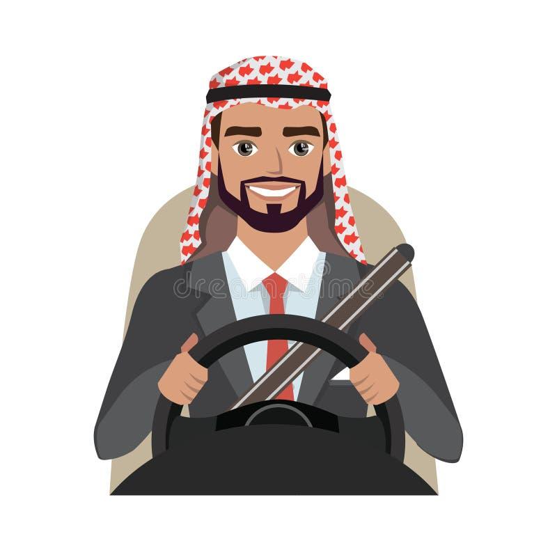驾驶汽车的阿拉伯商人 在正式衣服的阿拉伯人衣物 向量例证