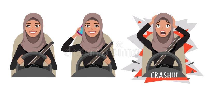 驾驶汽车的阿拉伯妇女 驾驶汽车的妇女谈话在电话 妇女有一次事故 失败 向量例证