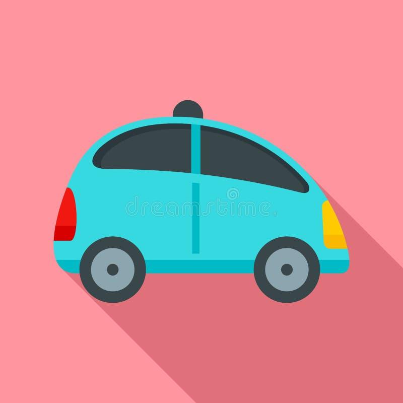 驾驶汽车象,平的样式的城市自已 向量例证