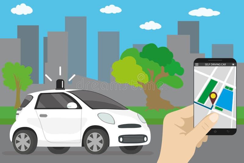 驾驶汽车,动画片未来运输概念的自已 向量例证