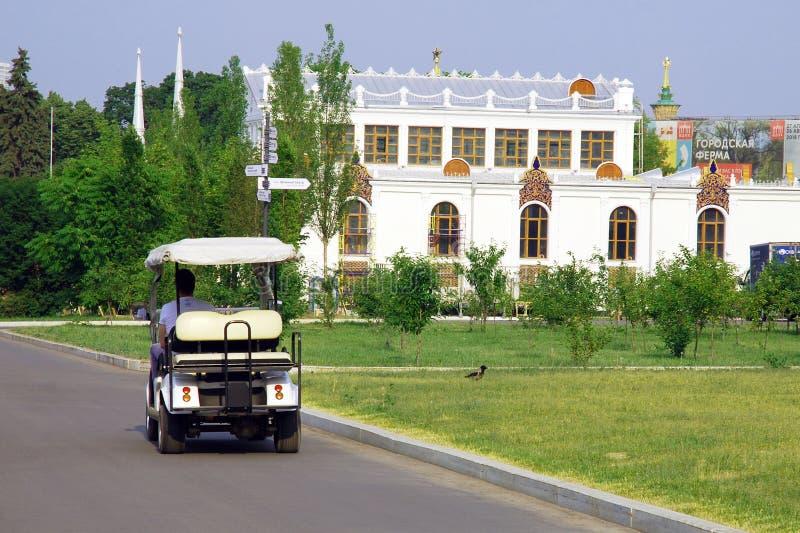 驾驶沿通过绿色草坪的柏油路的电推车 免版税库存图片