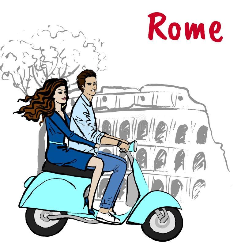驾驶滑行车的夫妇在罗马 皇族释放例证