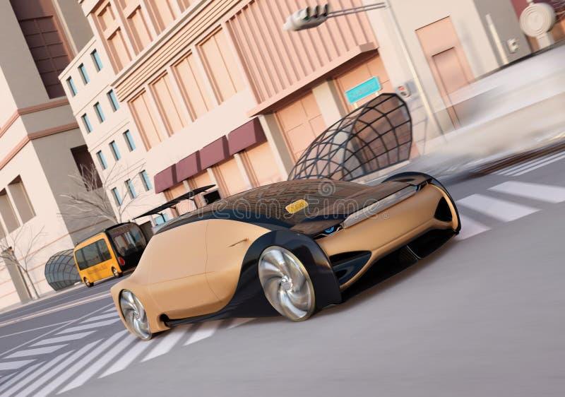 驾驶轿车的金黄颜色自已驾驶在路 库存例证