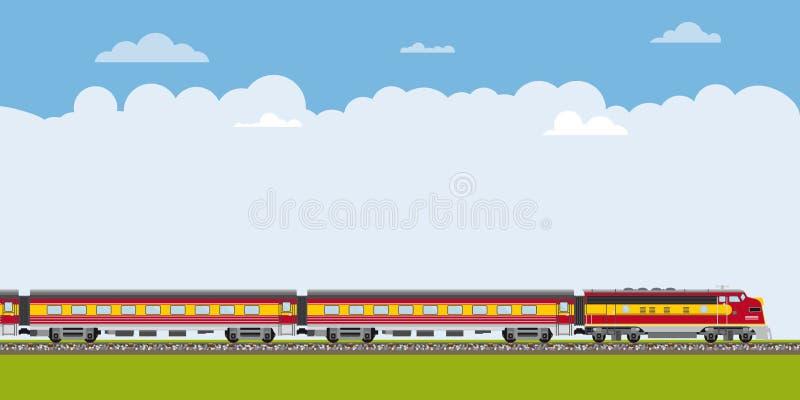 驾驶通过与拷贝空间横幅的风景的火车 库存例证
