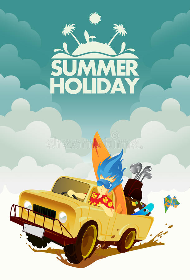 驾驶通过暑假 向量例证