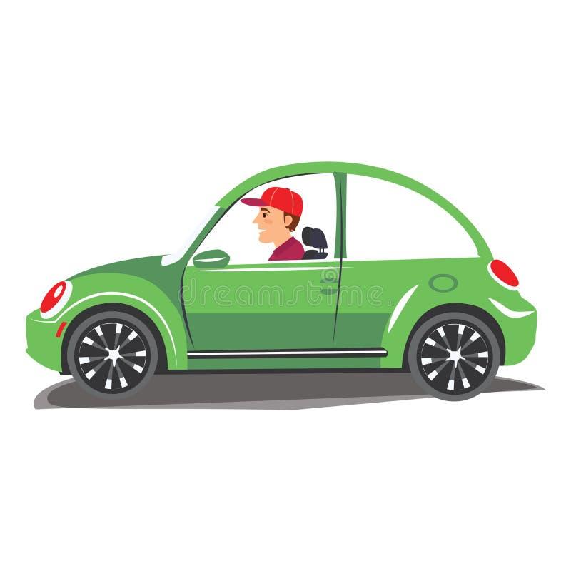 驾驶绿色汽车的年轻人 导航驾驶在被隔绝的背景的一个快乐的人的例证 皇族释放例证