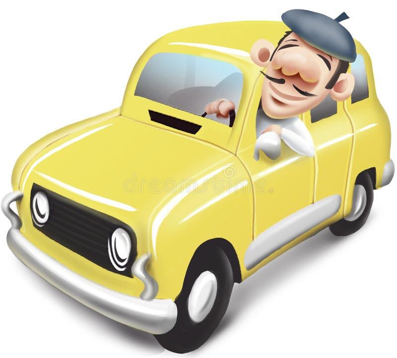 驾驶黄色汽车雷诺4的人 免版税图库摄影