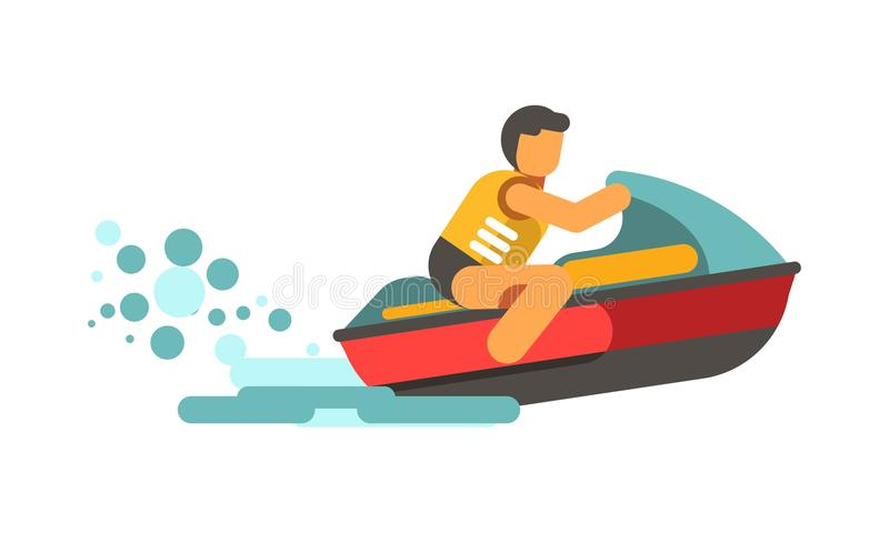 驾驶水滑行车的救生背心的年轻男性收养 皇族释放例证