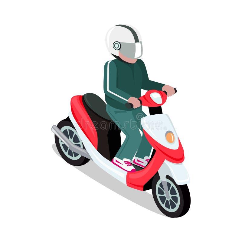 驾驶滑行车的盔甲的骑自行车的人 库存例证