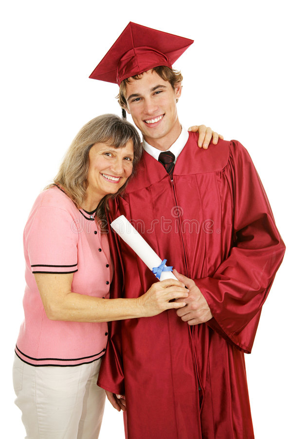 骄傲毕业生的妈妈 免版税库存图片