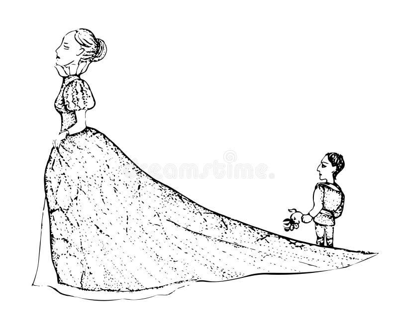 骄傲的公主留下不幸的恋人 传染媒介illustretion 向量例证