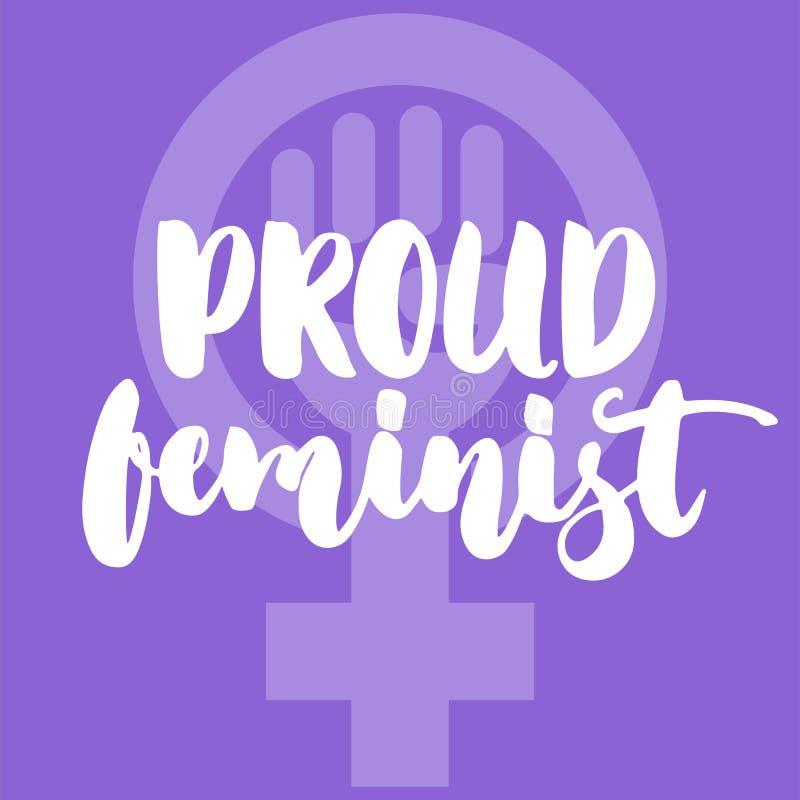 骄傲的男女平等主义者-关于妇女,女孩,女性,在紫罗兰色背景的女权主义的手拉的字法词组 乐趣刷子墨水 皇族释放例证