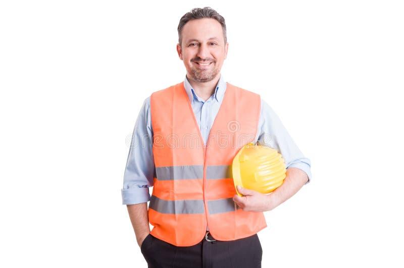 骄傲,确信和成功的承包商、工头或者建造者 免版税库存图片