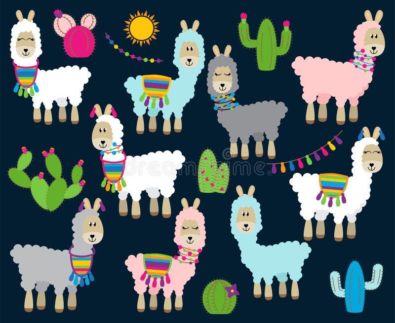 骆马、骆马和羊魄的逗人喜爱的传染媒介收藏 库存例证