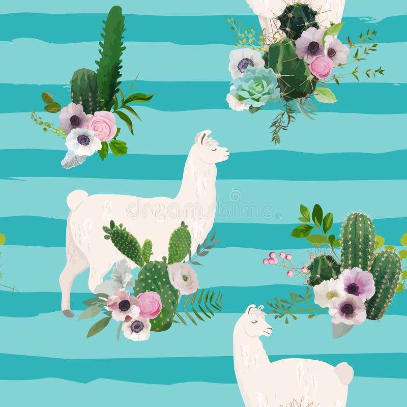 骆马和仙人掌无缝的样式 喇嘛野生生物织品的,墙纸,包装纸,装饰自然背景 库存例证