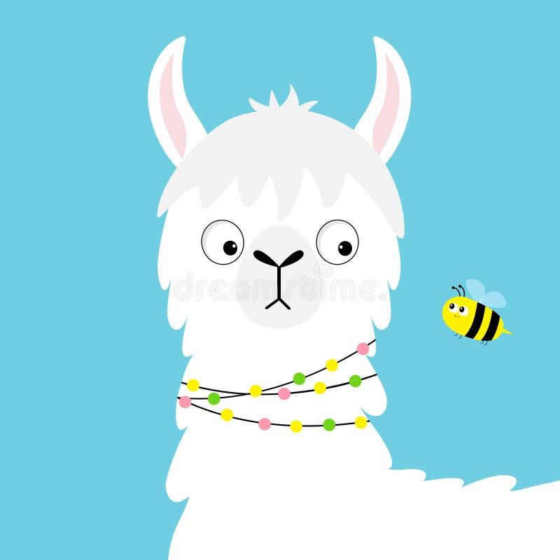 骆马看蜂的羊魄面孔 幼稚婴孩收藏 逗人喜爱的动画片滑稽的kawaii字符 蓬松头发毛皮 T恤杉,greetin 库存例证