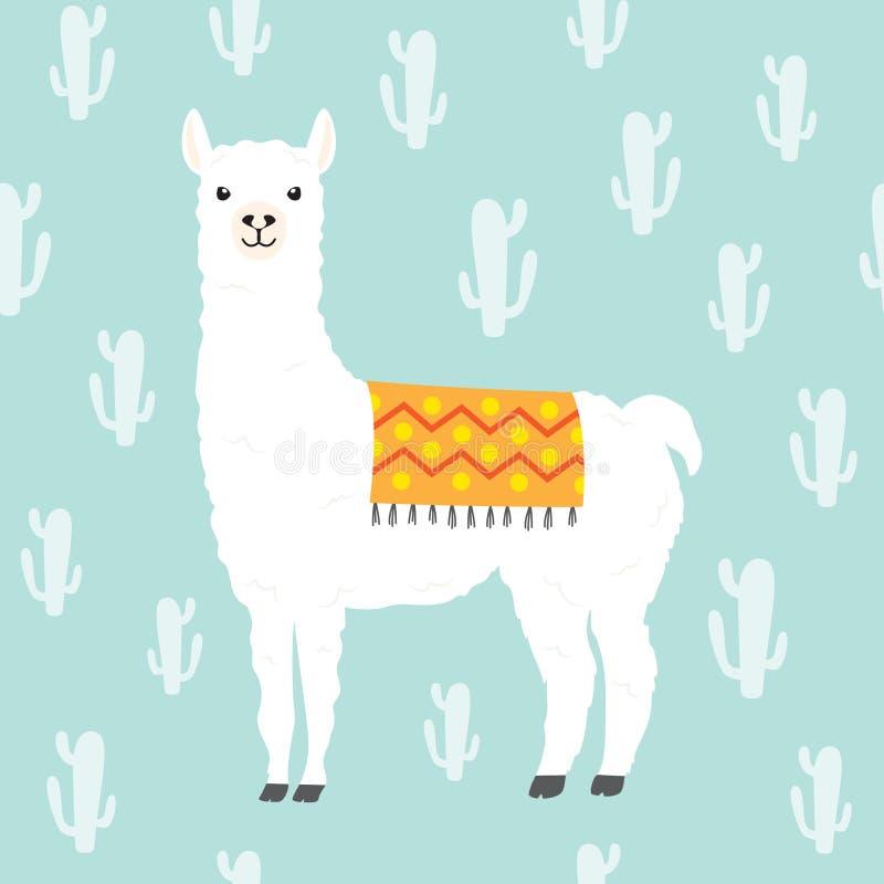 骆马羊魄和仙人掌无缝的样式 库存例证