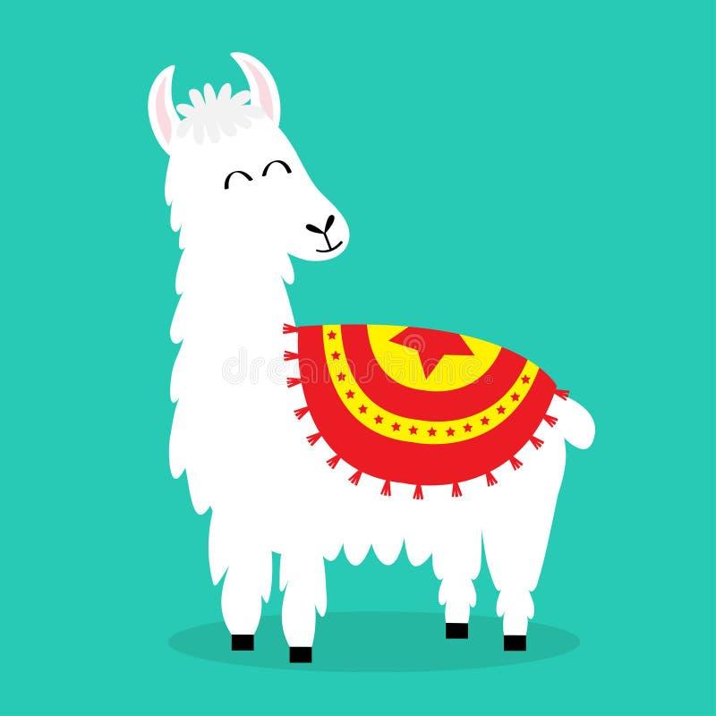 骆马羊魄 哀伤的表面 逗人喜爱的动画片滑稽的kawaii微笑的字符 幼稚婴孩收藏 蓬松头发毛皮 T恤杉,问候 皇族释放例证