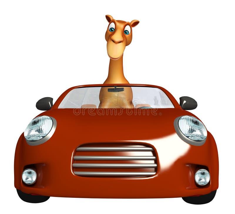 骆驼与汽车的漫画人物 库存例证