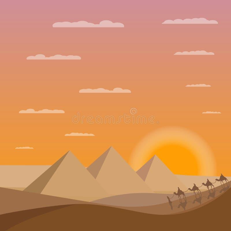 骆驼有蓬卡车在埃及金字塔附近的 埃及日落 向量例证