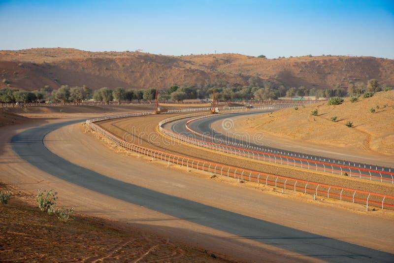 骆驼比赛是阿拉伯海湾传统 这条骆驼赛马跑道在平衡的太阳显示含沙轨道的曲线 库存照片
