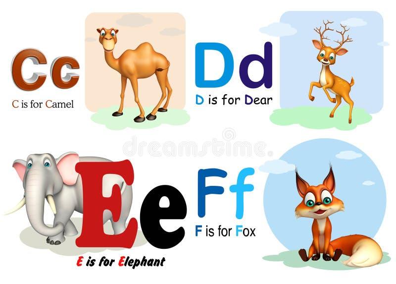 骆驼,亲爱,大象和Fox与Alphabate 库存例证