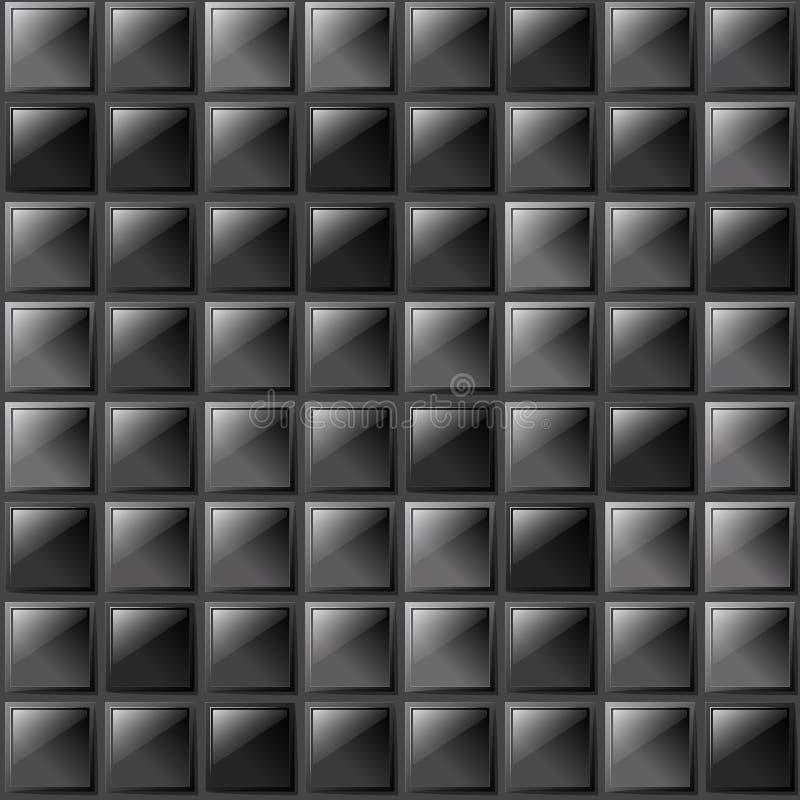 验查员不同的树荫优美的玻璃板金属背景  生产、植物或者工厂 黑色白色 向量例证