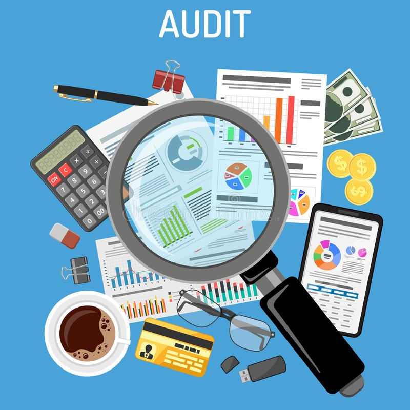 验核,税过程,会计概念 库存例证