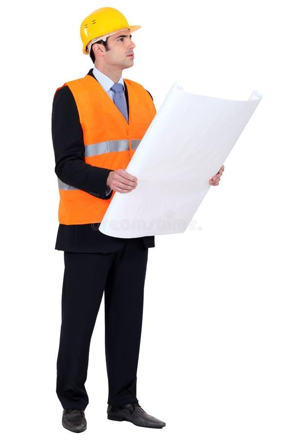 验证图画的工程师 免版税库存照片