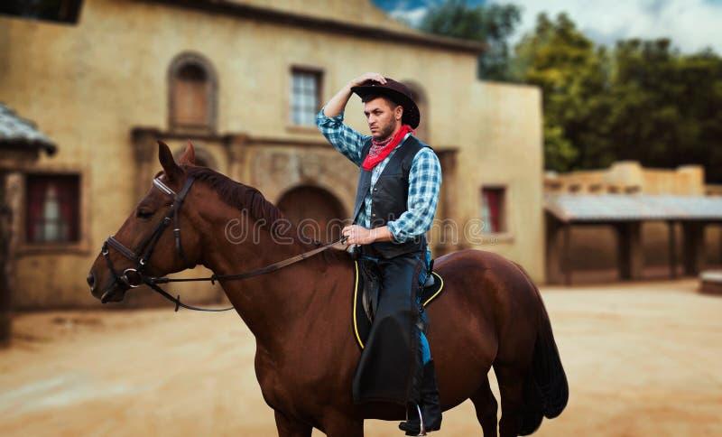 骑一匹马的牛仔在得克萨斯国家,交谊厅 库存照片