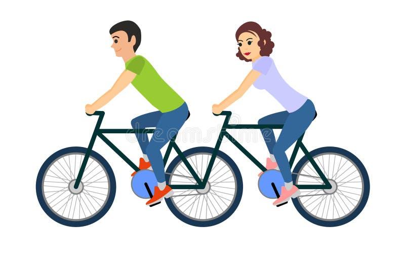 骑一辆纵排自行车的男人和妇女夫妇  蝴蝶 库存例证