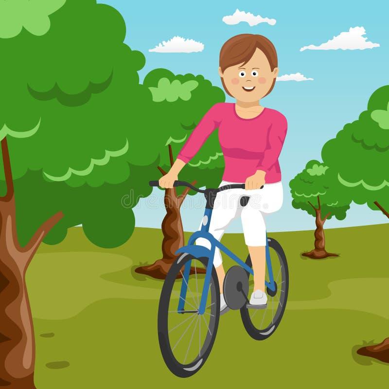 骑一辆自行车的年轻美丽的妇女在公园 活跃人民 户外 皇族释放例证