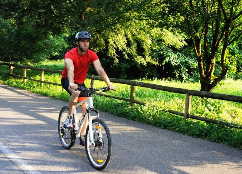 骑一辆自行车的骑自行车者在公园 图库摄影