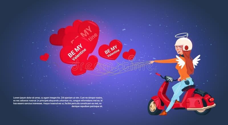 骑减速火箭的马达自行车的愉快的情人节概念妇女丘比特拿着心形的气球 库存例证
