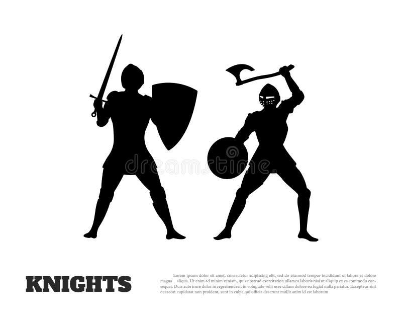 骑士争斗黑剪影在白色背景的 中世纪战士象  库存例证