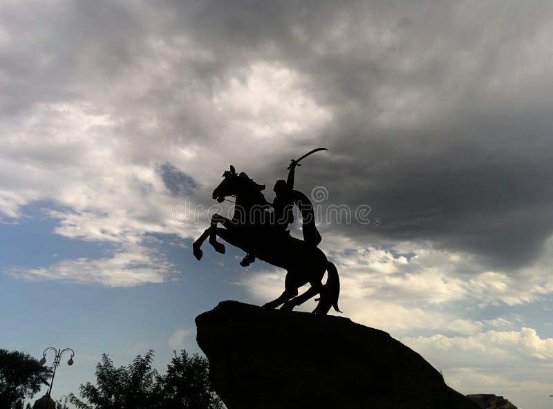 骑士剪影 库存图片