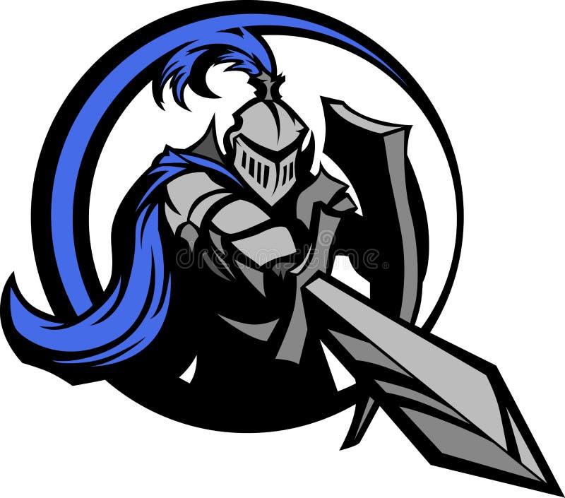 骑士吉祥人中世纪盾剑 向量例证