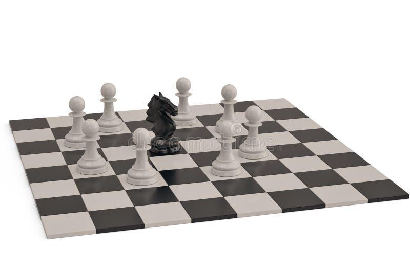 骑士和典当在棋盘的棋子 3d例证 库存例证