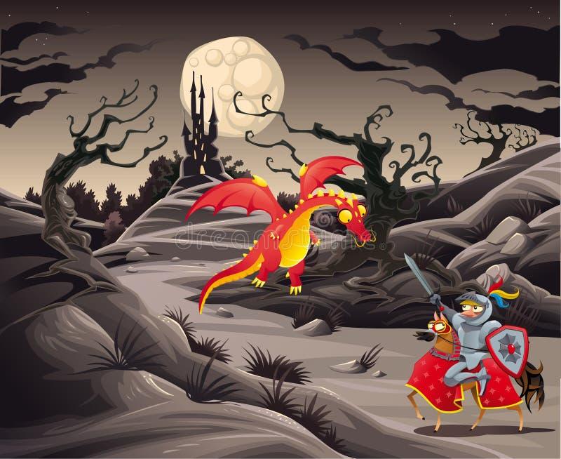 骑士和龙在一个风景与城堡。 皇族释放例证