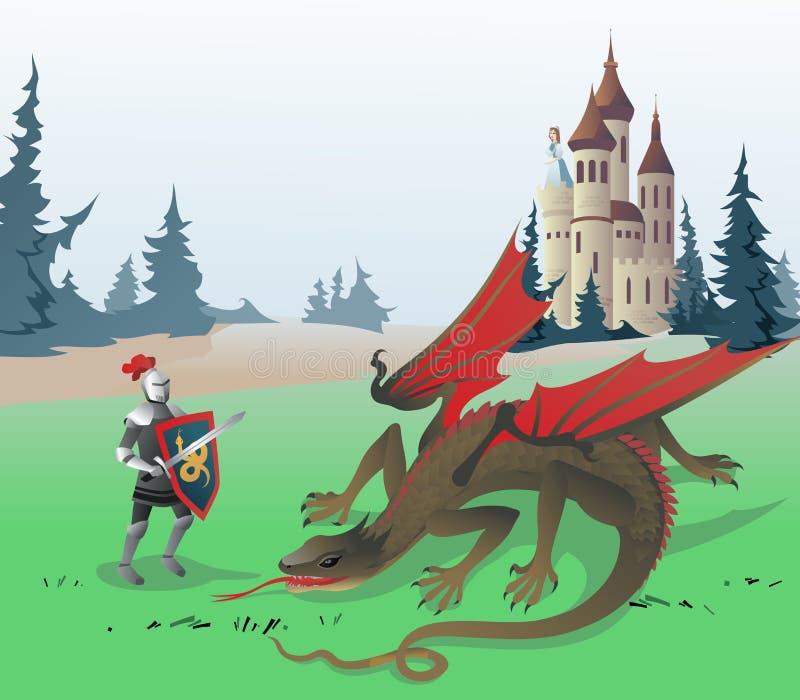 骑士战斗的龙 皇族释放例证