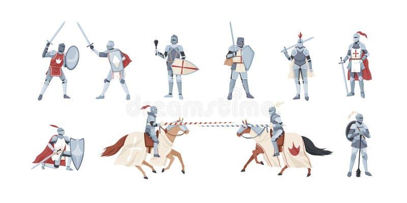 骑士的汇集 捆绑战士藏品剑、盾,钉头锤或者战斗在争斗隔绝在白色背景 皇族释放例证