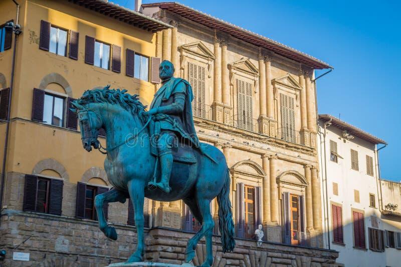 骑士的雕象,佛罗伦萨,意大利 库存图片