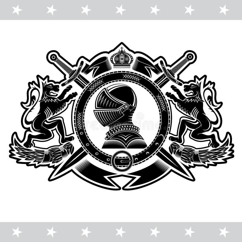 骑士盔甲侧视图在圆的传送带的中心有横渡的剑的在狮子之间 纹章学葡萄酒标签 皇族释放例证