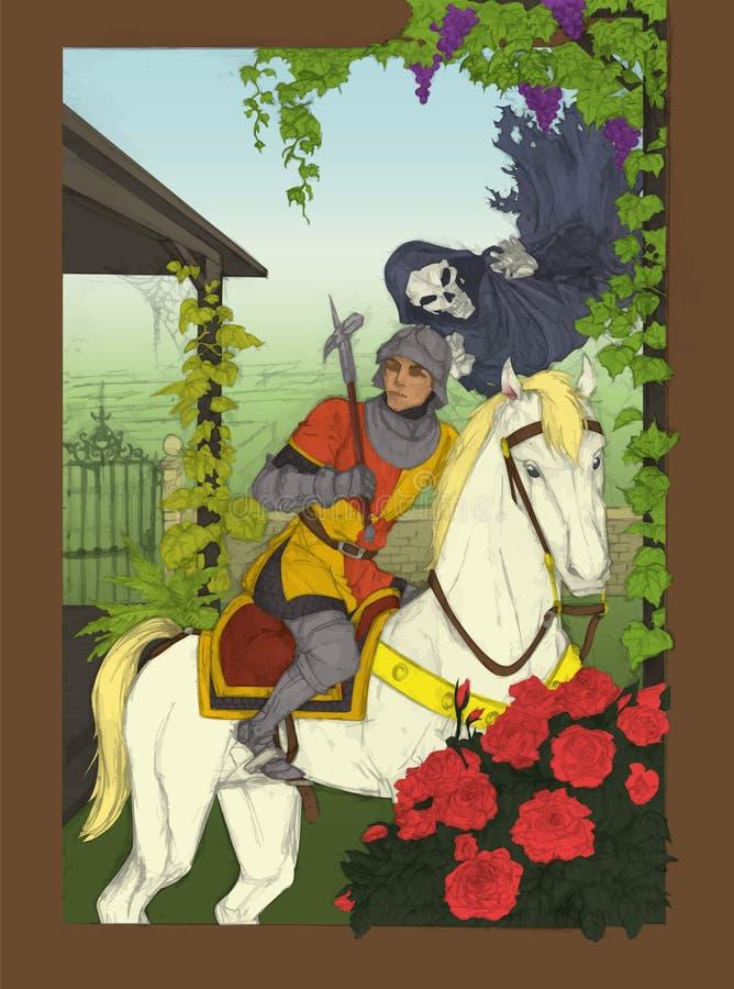 骑士&幽灵在庭院内 向量例证