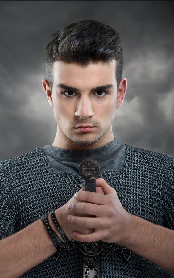 年轻骑士 免版税图库摄影