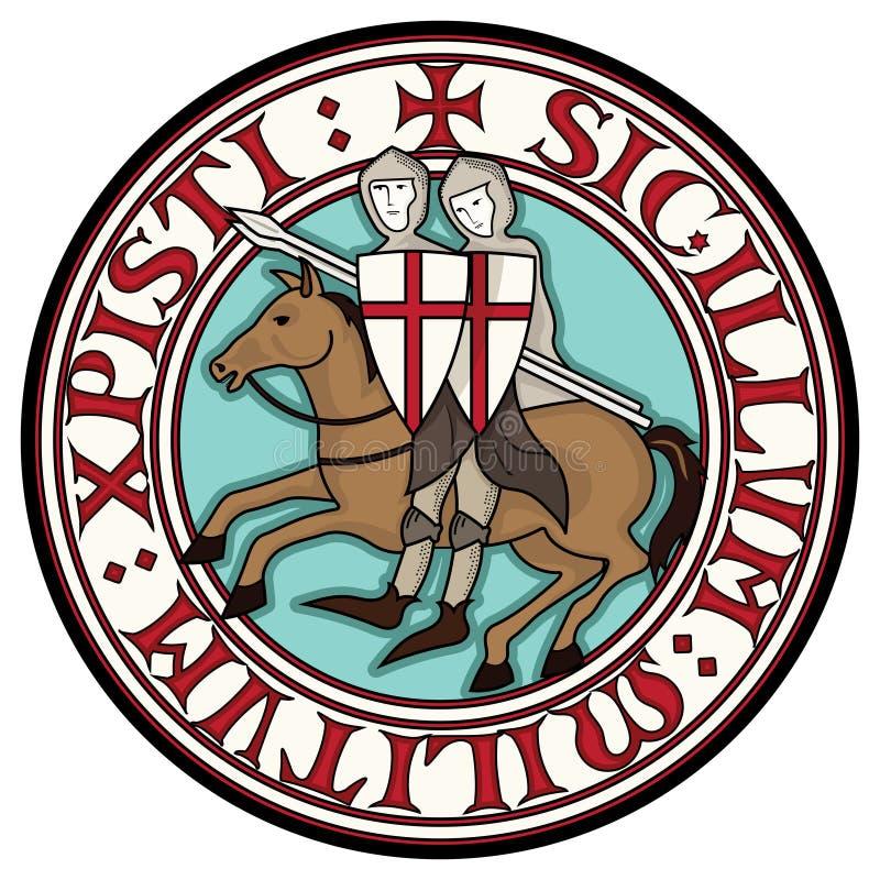 骑士Templars的标志 在马背上两个骑士烈士与矛,在从口号的文本的一个圈子  向量例证