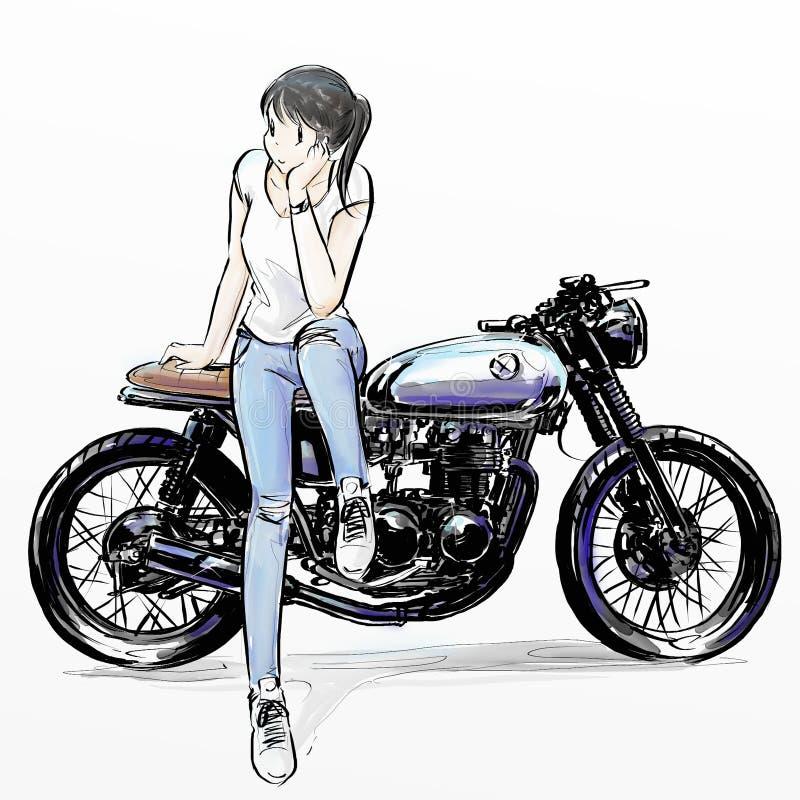 骑她的摩托车的逗人喜爱的动画片女孩 免版税库存图片