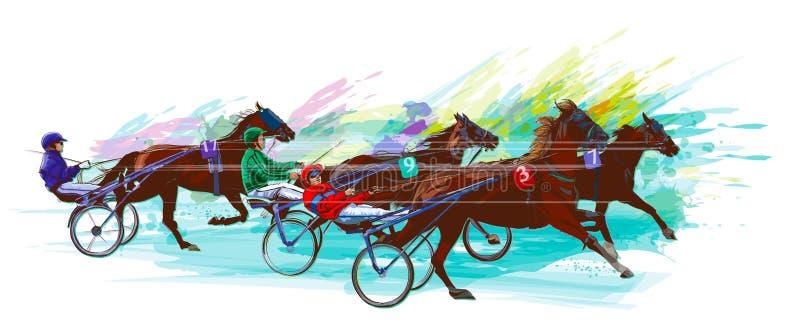 骑师和马 阴沉赛跑 向量例证